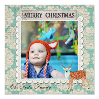 Amber & Azure  Buck  Blue Christmas Photo Card 13 Cm X 13 Cm Square Invitation Card