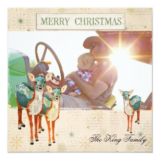 Amber & Azure Fawns Christmas Photo Card 13 Cm X 13 Cm Square Invitation Card