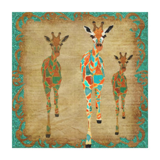 Amber  & Azure Giraffes Art Canvas