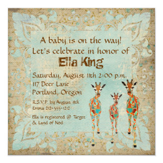 "Amber & Azure Giraffes Baby Invitation 5.25"" Square Invitation Card"