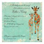 Amber Azure Giraffes Baby Invitation