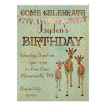 Amber & Azure Giraffes  Birthday Invitation
