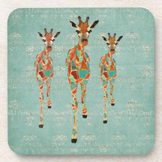 Amber & Azure Giraffes Cork Coaster