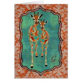 Amber & Azure Giraffes Damask Monogram Notecard Greeting Card