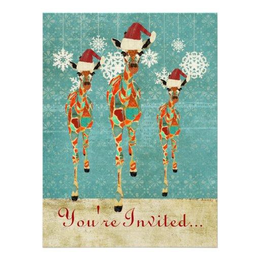 Amber & Azure Giraffes Holiday Invitation
