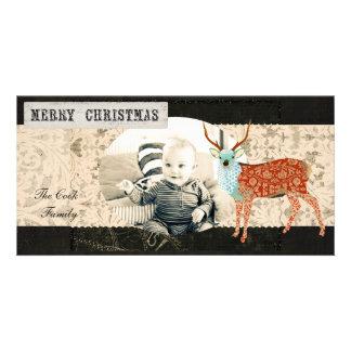 Amber & Azure Ornate Buck Christmas Photo Card