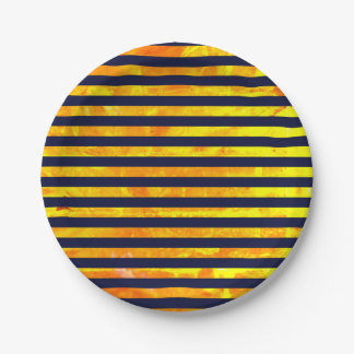 Amber background | stripes pattern paper plate