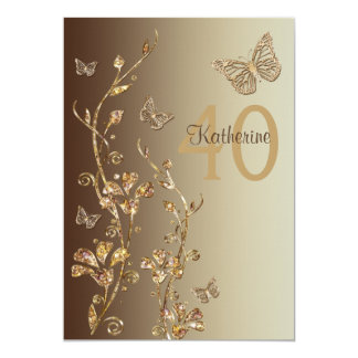 Amber, Brown Flowers & Butterflies 40th Birthday Card