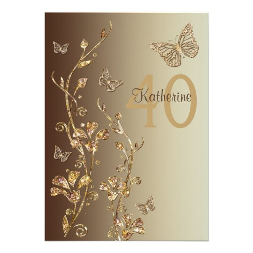 Amber, Brown Flowers & Butterflies 40th Birthday Personalized Invites