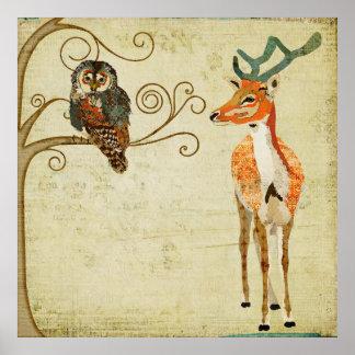 Amber Buck & Teal Owl Art Poster