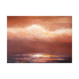Amber Clouds Ocean Wrapped Canvas Print