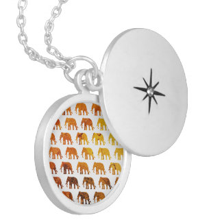 Amber elephants pattern custom background color locket necklace