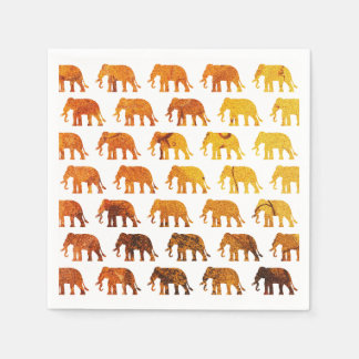 Amber elephants pattern custom background color paper napkin
