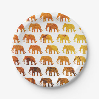 Amber elephants pattern custom background color paper plate