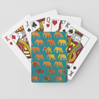 Amber elephants pattern custom background color playing cards