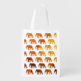 Amber elephants pattern custom background color reusable grocery bag