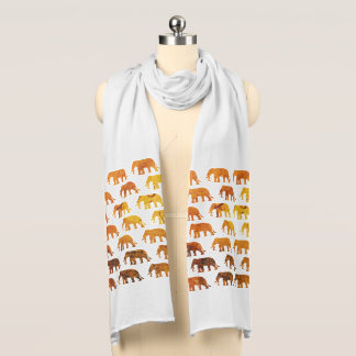 Amber elephants pattern custom background color scarf