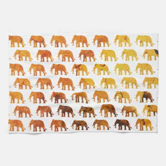 Amber elephants pattern custom background color tea towel