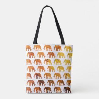 Amber elephants pattern custom background color tote bag