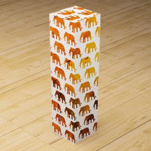 Amber elephants pattern custom background colour wine box