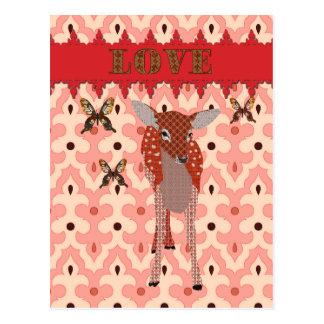 Amber Fawn & Golddust Butterflies Pink  Love  Post Postcard