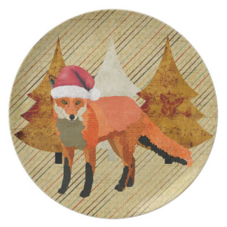 Amber Festive Fox Plate