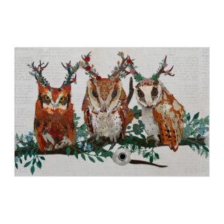 AMBER FLORAL ANTLER OWLS BRANCH ACRYLIC PRINT