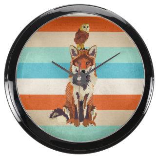 Amber Fox & Owl Clock Aquarium Clock