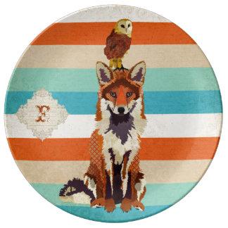 Amber Fox Owl Monogram Plate Porcelain Plate