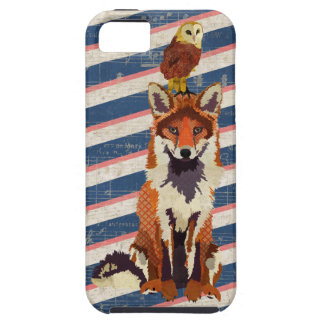 Amber Fox & Owl Navy Stripes Case