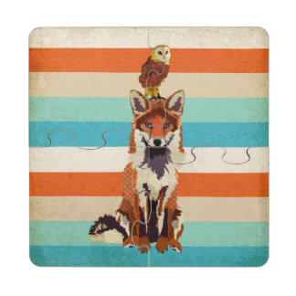 Amber Fox & Owl Puzzle Coaster