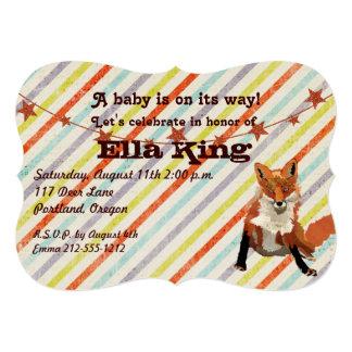 "Amber Fox Stripes Baby Shower Invitation 5"" X 7"" Invitation Card"