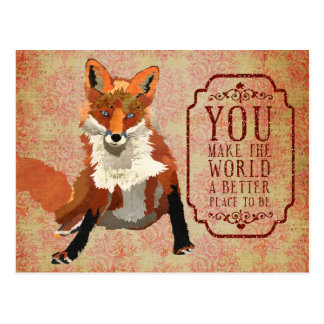 Amber Fox Valentines Day Postcard