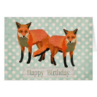 Amber Foxes Birthday Card