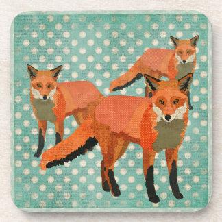 Amber Foxes Polkadot Coaster