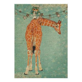 Amber Giraffe Owl Blue Star Birthday Invitation