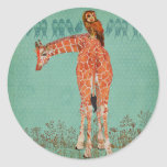 Amber Giraffe & Owl Feathers Round Sticker