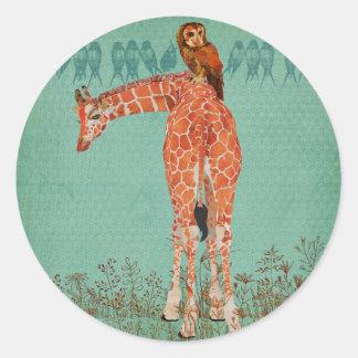 Amber Giraffe & Owl Feathers Round Stickers