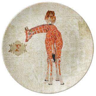 Amber Giraffe Owl Monogram Plate Porcelain Plate
