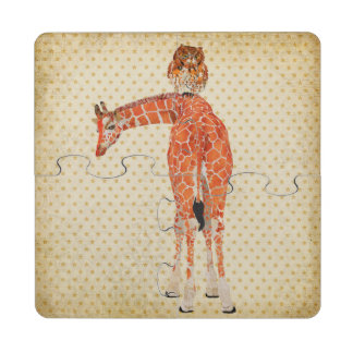 Amber Giraffe & Owl Puzzle Coaster