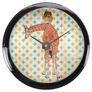 Amber Giraffe & Owl Retro Clock Aqua Clocks