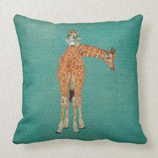 Amber Giraffe Owl Teal Pillow