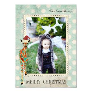 Amber Giraffe Polkadot  Christmas Photo Card 14 Cm X 19 Cm Invitation Card