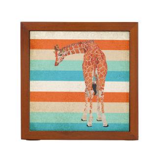 Amber Giraffe Stripes Desk Organizer