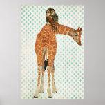 Amber Giraffe & Teal Owl Art Poster