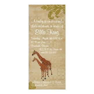 "Amber Giraffes Baby Invitation 4"" X 9.25"" Invitation Card"