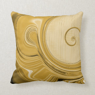 Amber Gold Spirals And Waves Pattern Cushion