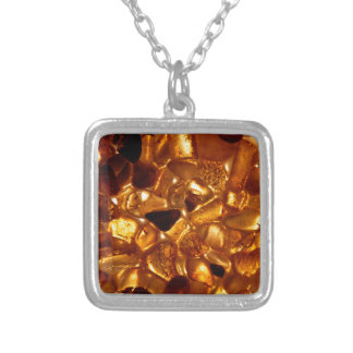 Amber grains with backlight illumination silver plated necklace