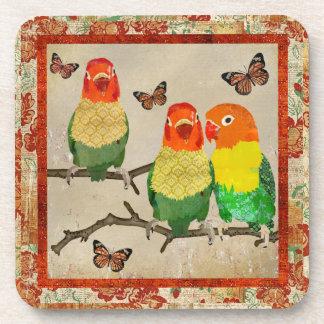 Amber Love Birds & Butterflies Cork Coaster