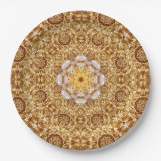 Amber Mandala 9 Inch Paper Plate
